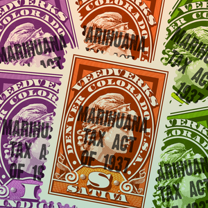 Veedverks Marihuana Tax Act of 1937 sticker collage
