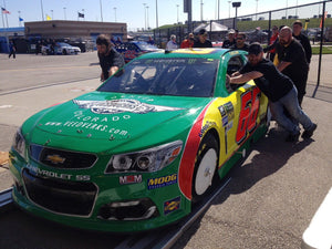 Carl Long's Veedverks sponsored NASCAR MENCS racecar in tech inspection