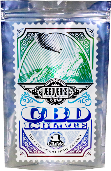 Veedverks pure CBD isolate from Colorado industrial hemp package