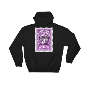 Black hoodie with Veedverks Indica Marihuana Tax Act of 1937 stamp design