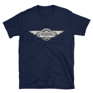 Navy blue T-shirt with Veedverks logo on front