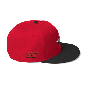 Red/black Veedverks Racing Carl Long #66 Snapback Cap, Right Side Number 66