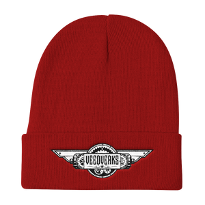 Red knit embroidered Veedverks logo beanie hat