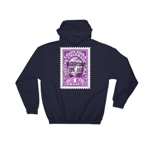 Navy blue hoodie with Veedverks Indica Marihuana Tax Act of 1937 stamp design