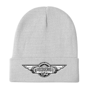 White knit embroidered Veedverks logo beanie hat
