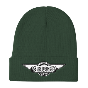 Dark green knit embroidered Veedverks logo beanie hat