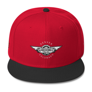Red/black Veedverks Racing Carl Long #66 Snapback Cap, Front