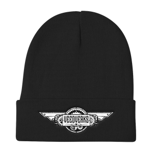 Black knit embroidered Veedverks logo beanie hat