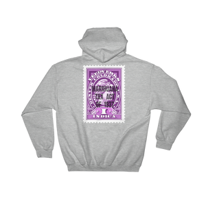 Heather gray hoodie with Veedverks Indica Marihuana Tax Act of 1937 stamp design