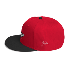 Red/black Veedverks Racing Carl Long #66 Snapback Cap, Left Side Autograph
