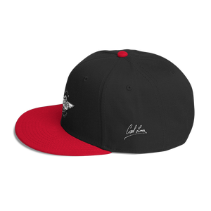 Black/red Veedverks Racing Carl Long #66 Snapback Cap, Left Side Autograph