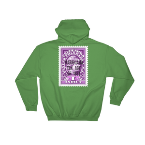 Green hoodie with Veedverks Indica Marihuana Tax Act of 1937 stamp design