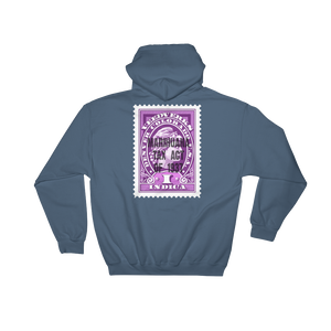 Indigo blue hoodie with Veedverks Indica Marihuana Tax Act of 1937 stamp design