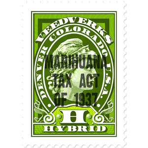 Marihuana Tax Act of 1937 tax stamp for Veedverks Hybrid hemp CBD products