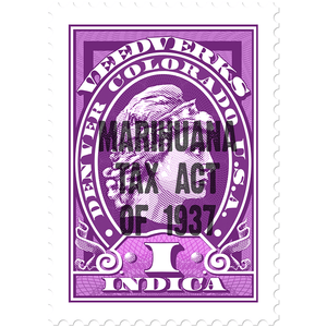 Marihuana Tax Act of 1937 tax stamp for Veedverks Indica hemp CBD products