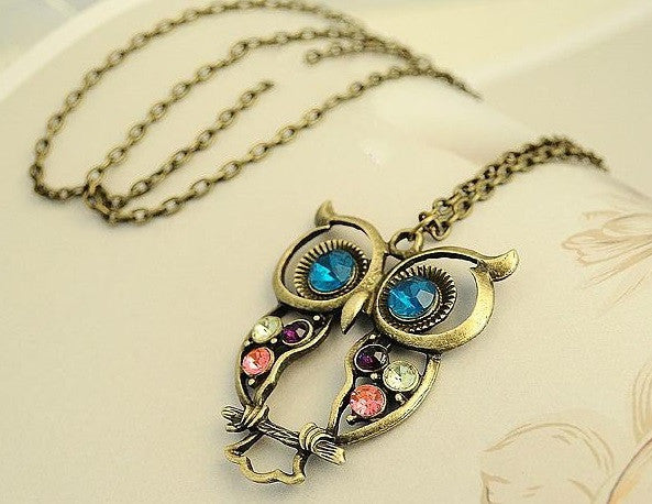 Gorgeous Rhinestone OWL Pendant Long Necklace