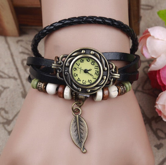 Unisex Leaf Leather Bracelet Watch