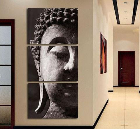 Buddha Oil Painting On Canvas 3 Pcs Wall Art