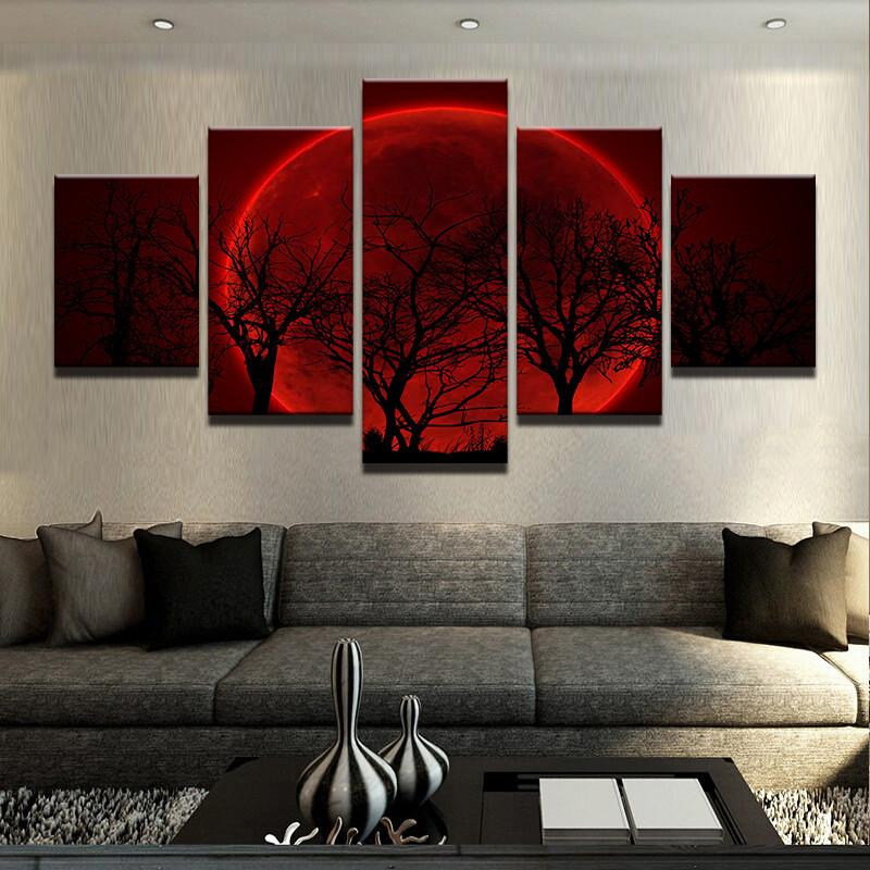 Red Moon 5 Pcs Wall Art Canvas