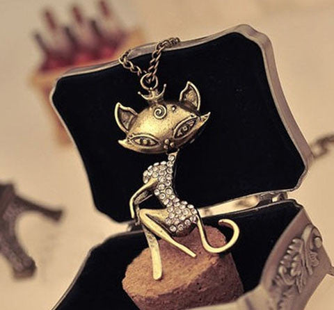 Cat Girl Crystal Rhinestone Long Chain Pendant