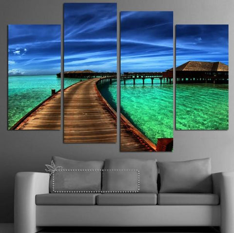 Beautiful Islaned Sea And Sky Canvas 4 Pcs Wall Art