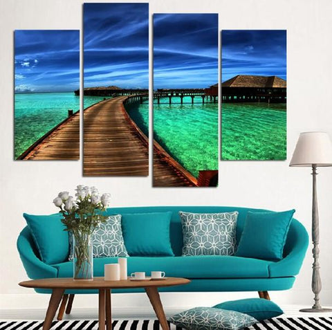 Beautiful Island Sea And Sky 4 Pcs Canvas Set