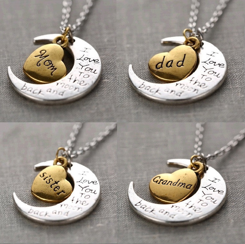 Unique Family Combination I LOVE YOU TO THE MOON AND BACK Necklace