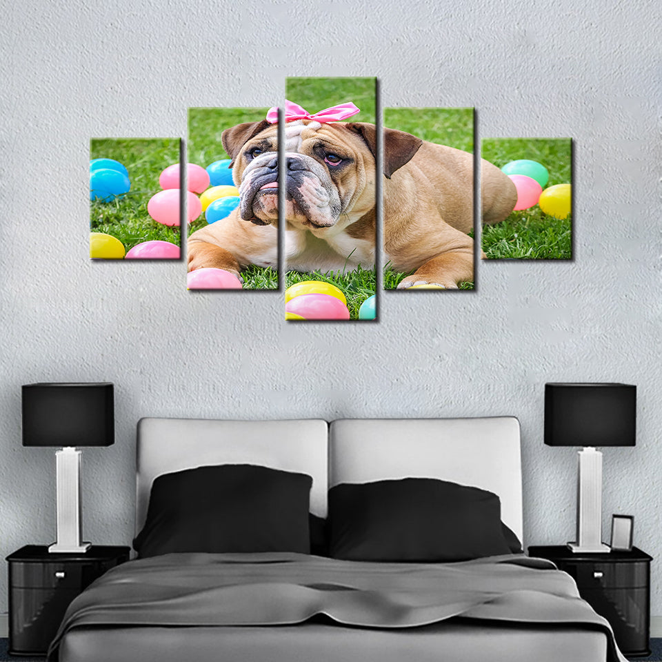 I Love Bulldogs - 5 Pcs Wall Art Canvas