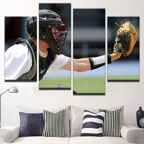 Baseball Catcher 4 Pcs Canvas Set