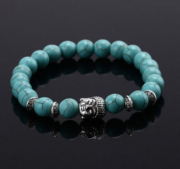 Lucky Turquoise Stone Bead Silver Buddha Bracelet