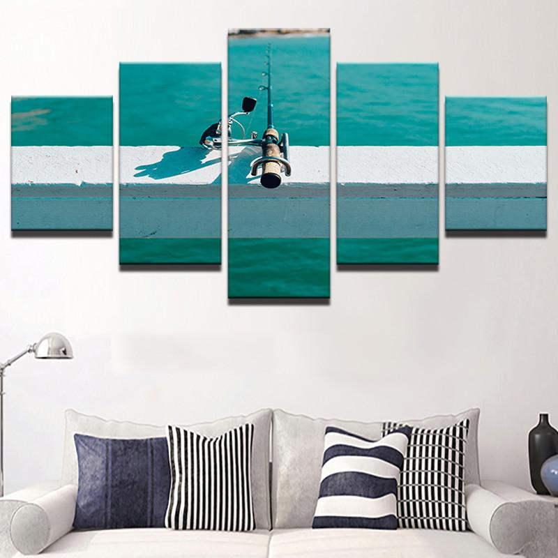 Fishing Pole 5 Pcs Canvas Wall Art