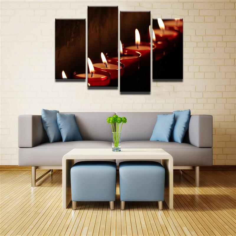 Relaxing Yoga Candles 4 Pcs Canvas Wall Art