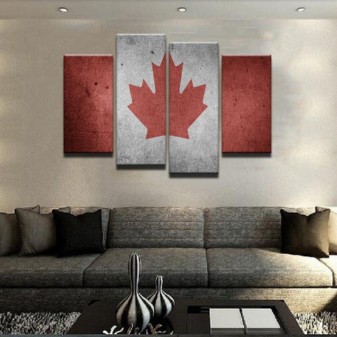 Canada Flag 4 Pcs Canvas Wall Art