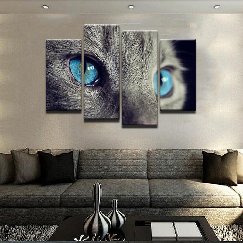 Blue Eyed Cat Canvas 4 Pcs Wall Art