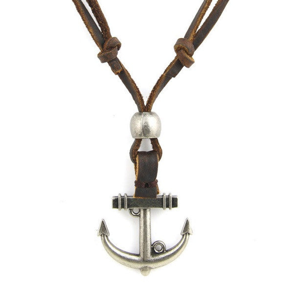 Genuine Leather Anchor Pendant Surfer Necklace