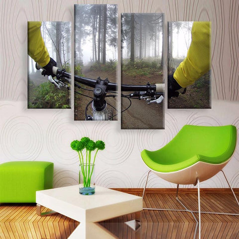 Cycling Canvas 4 Pcs Wall Art