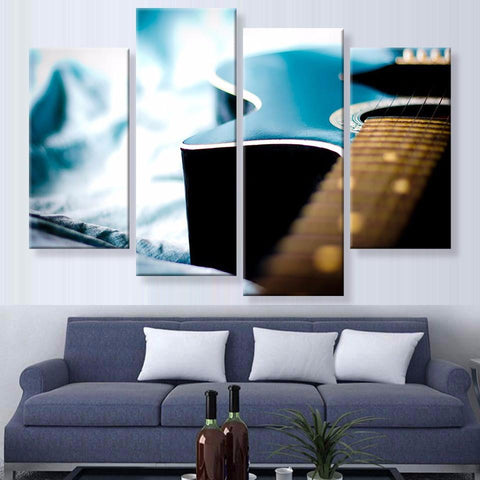Blue Guitar Canvas 4 Pcs Wall Art