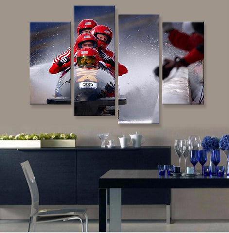 Bobsled Canvas 4 Pcs Wall Art