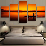 Fisherman 5 Pcs Canvas Wall Art