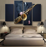 Saxophonist Canvas 4 Pcs Wall Art