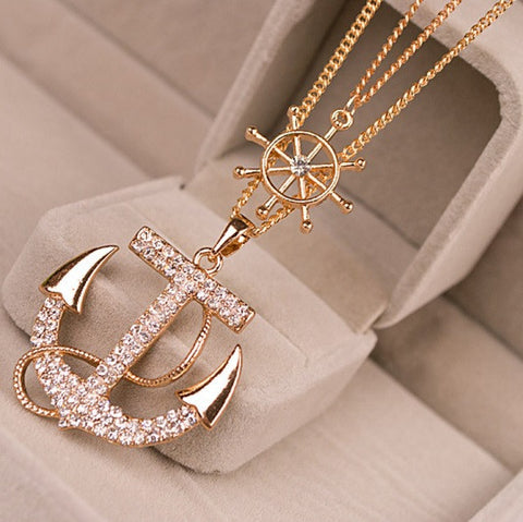 Rhinestone Crystal Anchor Necklace