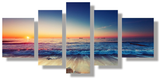 Relaxing 5 Pcs Seascape Wall Art Painted Canvas