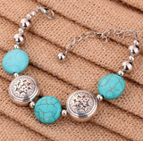 Silver Oblate Beads Bangle Turquoise Bracelet