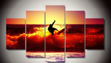Red Sunset Surf 5 Pcs Wall Art Canvas