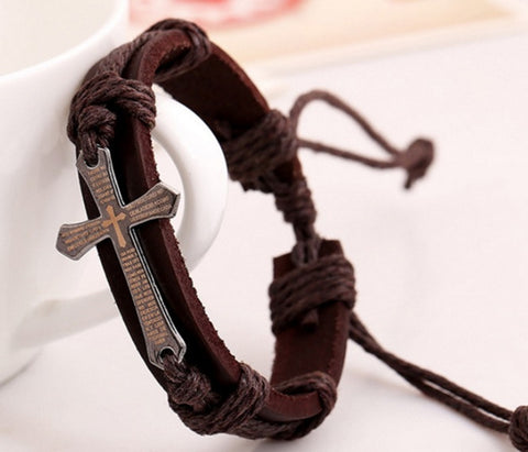 Leather Cross Wrap Bracelet