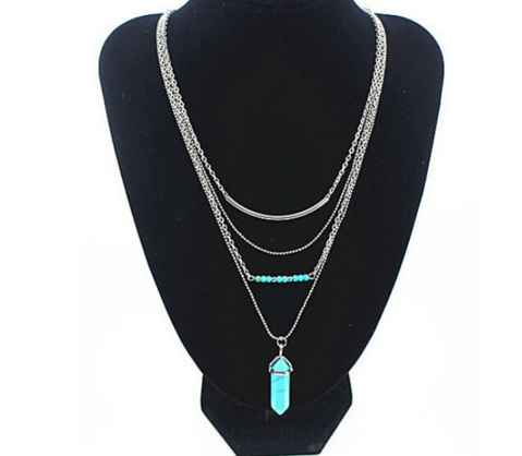 Multilayer Turquoise Blue beads & Natural Stone Necklace