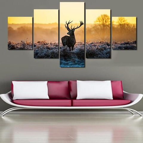 Deer Out In The Wild Canvas 5 Pcs Wall Art