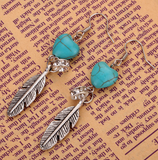 Turquoise Peach Heart Earrings