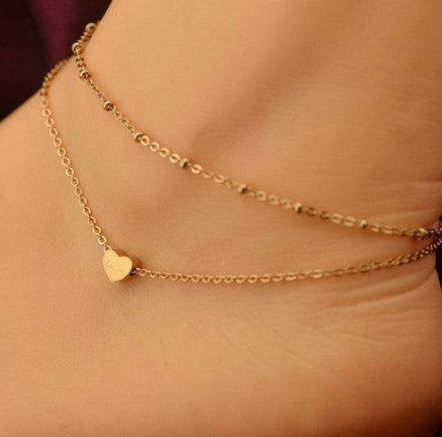Double Layer Heart Ankle Bracelet