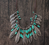 Bohemian Style Turquoise Bead & Leaf Necklace